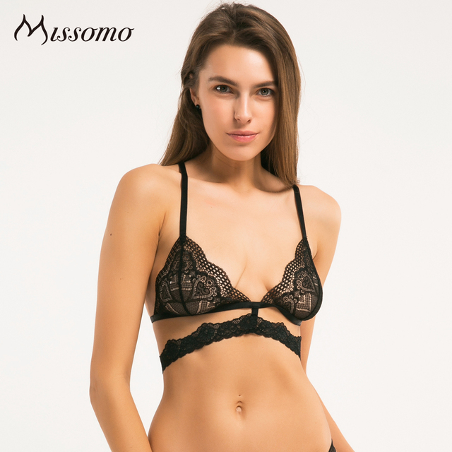 Missomo 2017 New Fashion Women Black Sexy Lace Jacquard Trim Bralette Adjustable Wide Straps Bras