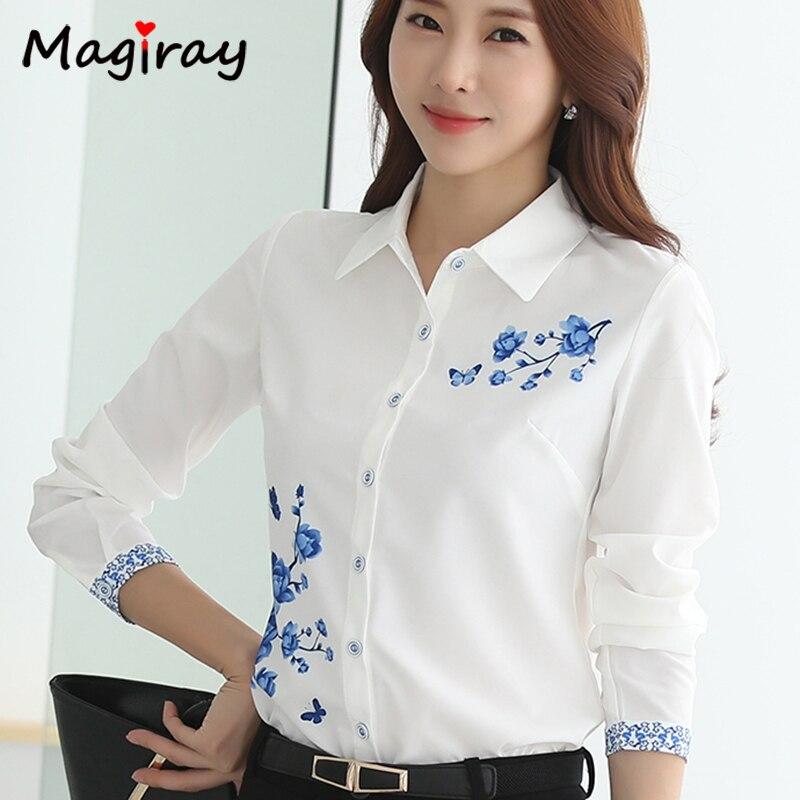 Long Sleeve Blue butterfly Flower Print Blouse Women 2021 Summer fall Top Elegant Work Office Plus Size Shirt White Blouse C181 4