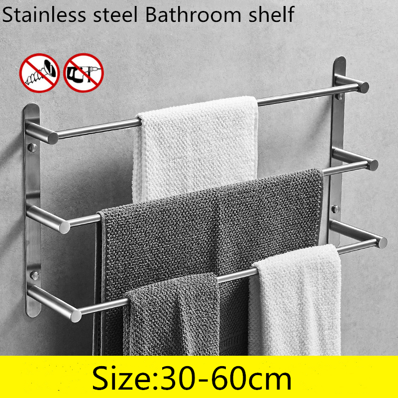 304 Stainless Steel Towel Bars Bathroom Shelf 3 Layers Square for Cosmetic and Shampoo Towel Rack Hanger Multi Use Bathroom Set304 Stainless Steel Towel Bars Bathroom Shelf 3 Layers Square for Cosmetic and Shampoo Towel Rack Hanger Multi Use Bathroom Set