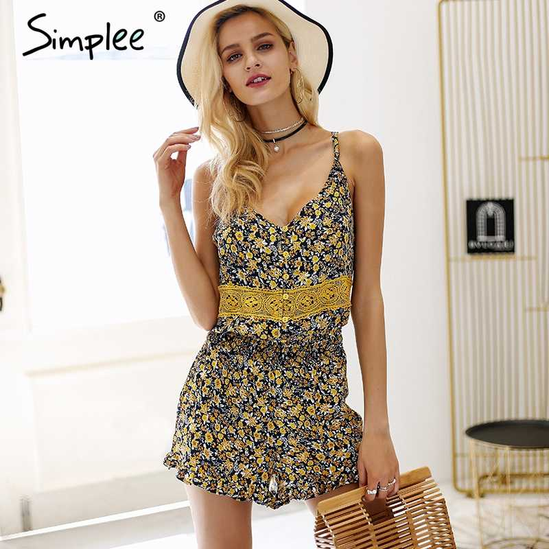 ac24fdf08a4 Simplee V neck strap boho print rompers Womens jumpsuit ruffle backless sexy  playsuit female Lace summer