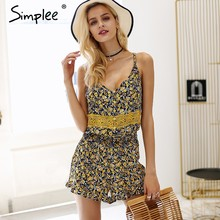 Simplee V คอสายคล้อง boho พิมพ์ rompers Womens jumpsuit ruffle backless (China)