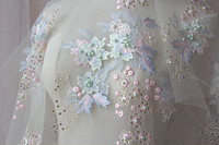 High Quality 90 130cm DIY French Beaded Lace Fabric For Wedding Dress Pearl Sequins White Lace