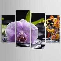 4 panel Lila Orchidee Blume Bambus Stein Kunstwerk Leinwand Zen Kunst Wanddekor Spa Massage Malerei