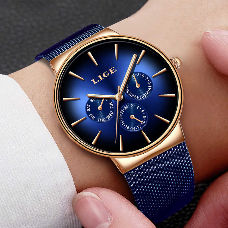 2019 NEW LIGE Mens Watches Top Brand Luxury Sport Watch Gold Mesh Steel Date Week Quartz Watch for Male Clock Relogio Masculino