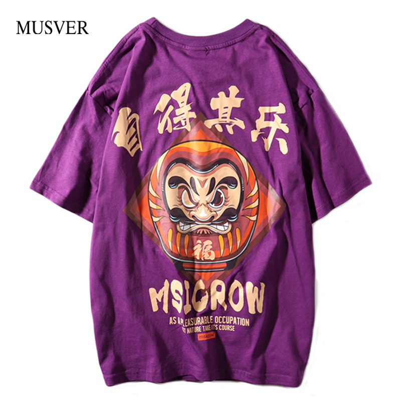 MUSVER Hip Hop Men   T  -  Shirts   2019 Summer Causal Cotton Funny Chinese Letter Printed Short Sleeve Fashion Streetwear Tops Tees