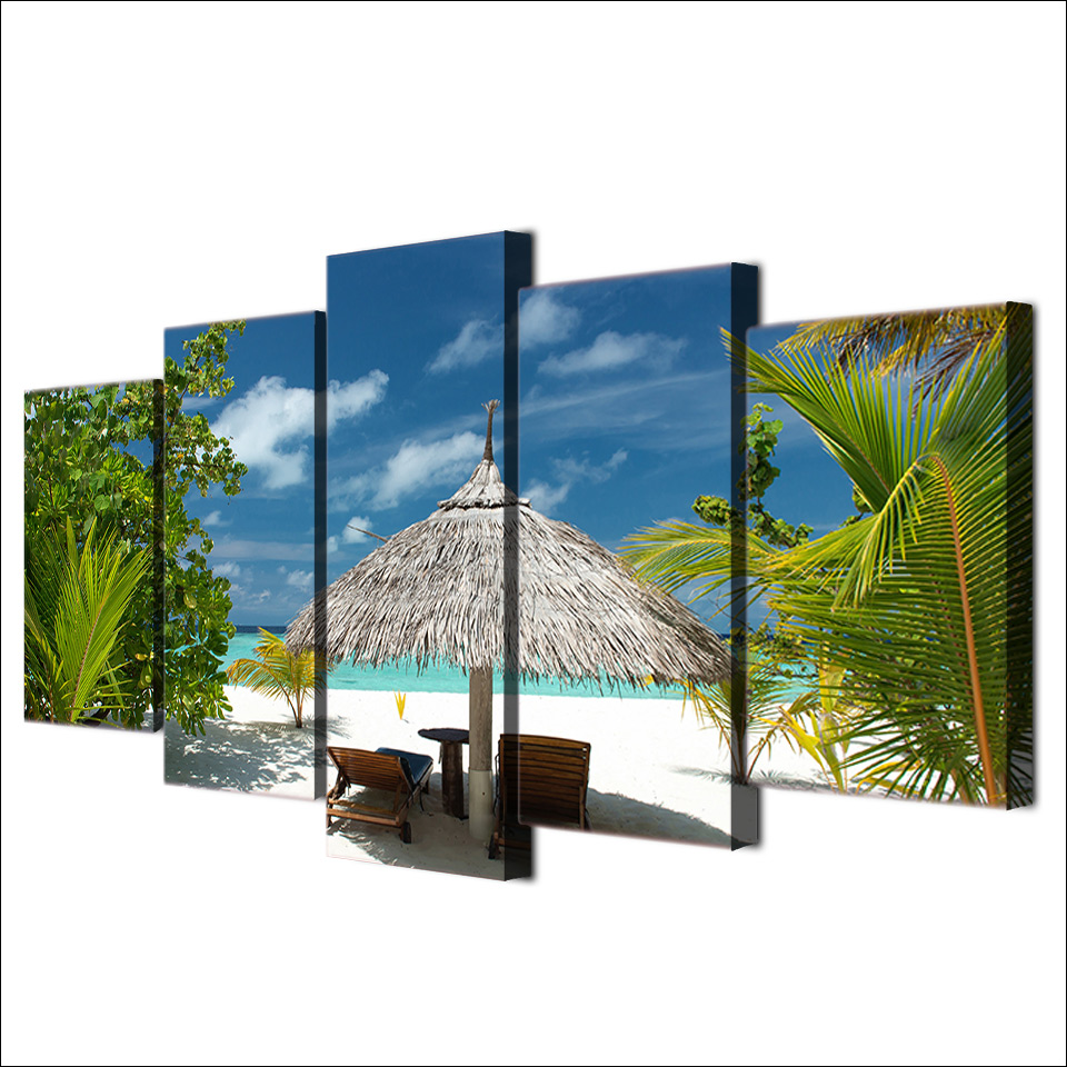 Modern Home Decor Pictures HD Prints 5 Pieces Tropical Island Painting Wall Art Canvas Palm Tree Beach Seascape Poster Framework