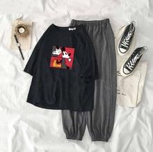 Лучший!  Женская Минни Микки Маус Спортивная Одежда Печатный Футболка Костюм с короткими рукавами Femme