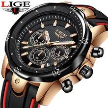 лучшая цена New LIGE Fashion Silicone Strap Mens Watches Top Brand Luxury Business Luminous Quartz Watch Men Casual Waterproof Date Clock