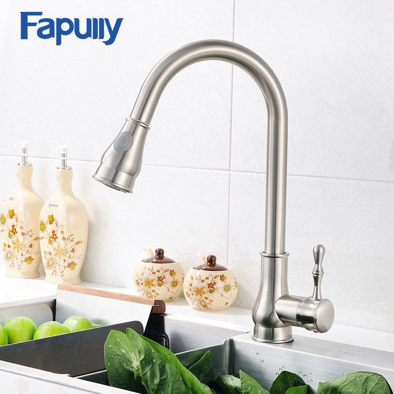 Fapully Kitchen Sink Faucet Brushed Nickel Mixer Tap Deck Mounted Single Hole Water Tap 3 Hole
