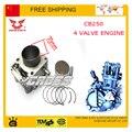 Zongshen 4 válvula de 250cc refrigerado por agua aros de pistón de motor bloque de cilindros junta 70 mm cb250 accesorios envío gratis