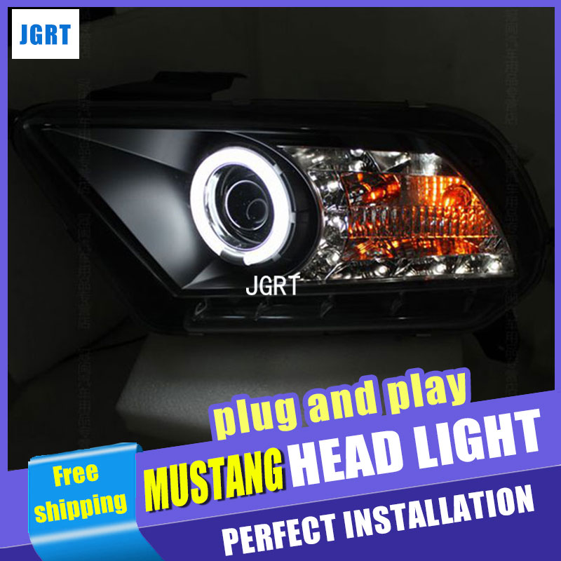 Car Styling Headlight assembly 2010-2012 for Ford Mustang DoubleU Angel Eye LED DRL Lens Double Beam H7 hid kit with 2pcs. hireno headlamp for 2012 2016 mazda cx 5 headlight headlight assembly led drl angel lens double beam hid xenon 2pcs