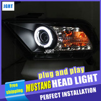 Car Styling Headlight assembly 2010 2012 for Ford Mustang DoubleU Angel Eye LED DRL Lens Double Beam H7 hid kit with 2pcs.
