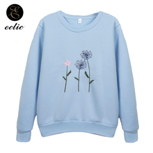 657e9dbd83f29 Korean Oversized Hoodie Kawaii Poleron Mujer 2018 Pullover Bts Hoodies  Embroidery Women Kpop Sweatshirt Blue Aesthetic Dandelion