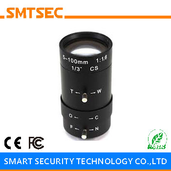 SMTSEC SL-5100M Varifocal F1.6 5-100mm Manual Iris CCTV Lens 68-1.8 Degrees 1/3