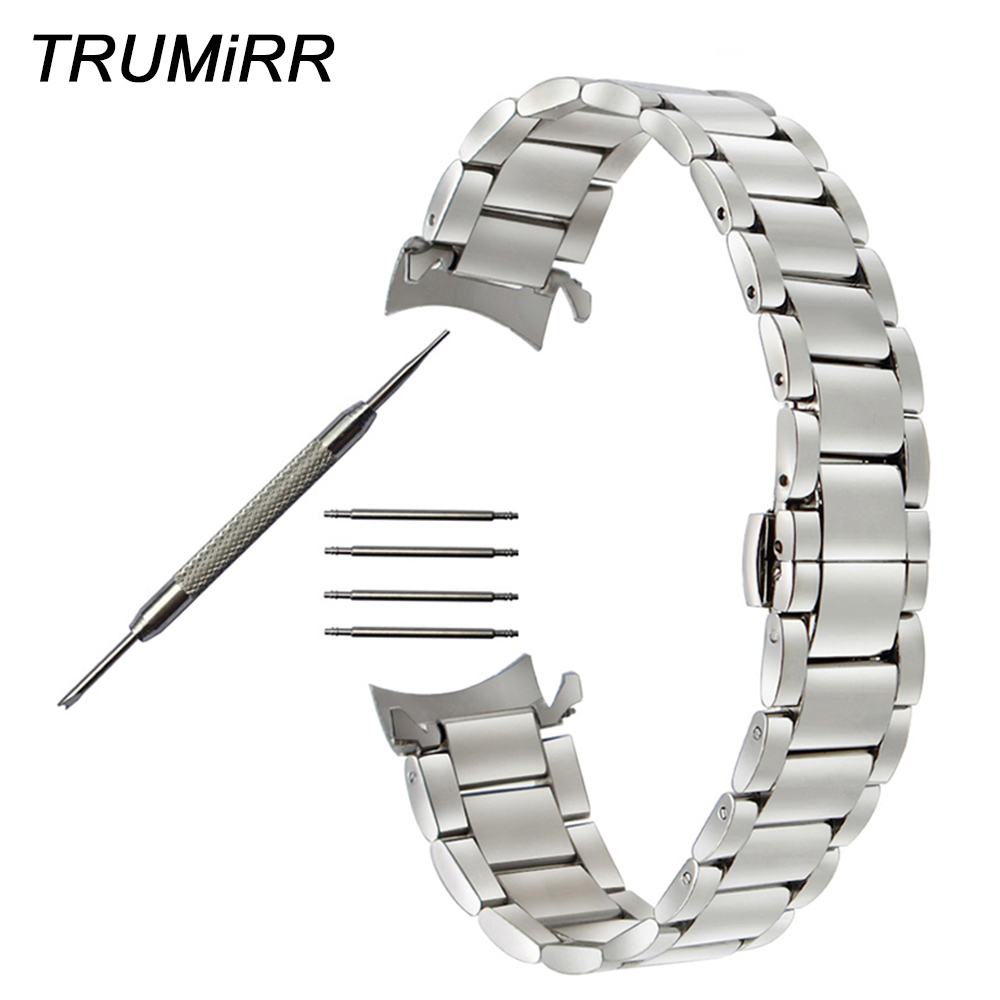 Curved End Stainless Steel Watchband for Omaga Men Women Watch Band Butterfly Buckle Strap Wrist Belt 14mm 16mm 18mm 20mm 22mm stainless steel watch band 18mm 20mm 22mm for fossil curved end strap butterfly buckle belt wrist bracelet black gold silver
