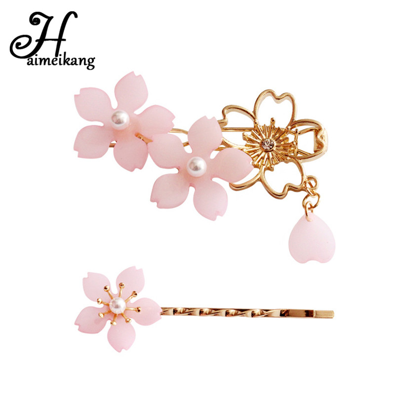 Haimeikang Metal Hollow Cherry Blossoms Flower Hairpin BB Pins Fashion Pearl Hair Clips for Women   Headwear   Hair Accessories