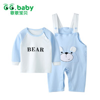 Spring Autumn Newborn Baby Sets Of Clothes Sleeve Tracksuits Costumes Cotton Kids Character Blue Yellow Pink
