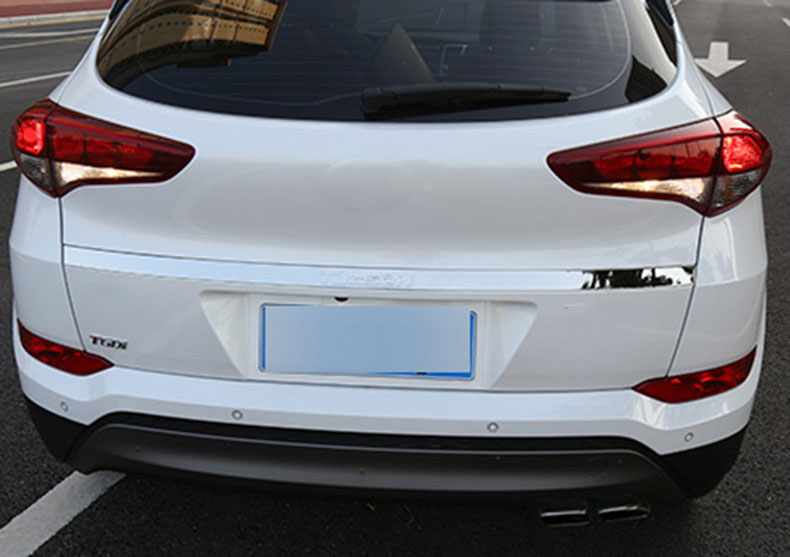 For 2015 2017 Hyundai Tucson Stainless Steel Rear Trunk Tailgate Back Boot Door Lid Cover Moulding Trim Car Styling Accessories