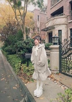 Princess sweet lolita coat Bobon21 Temperament Maiden Retro Flower Bud Lotus Leaf Lace Long hooded Wool Overcoat women C1684