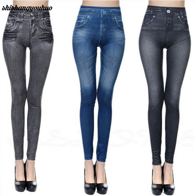Fashion Slim Women Leggings Faux Denim Jeans Leggings Sexy Long Pocket Printing Summer Leggings Casual Pencil Pants dropship