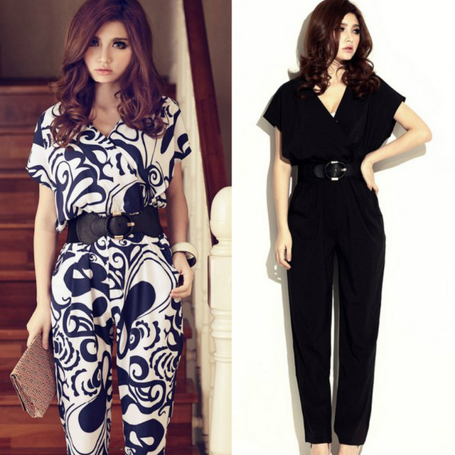 ef690392eb83 Hot sale European and American big celebrity women Jumpsuits   Rompers Long  trousers one-piece pants with belt gift Size M