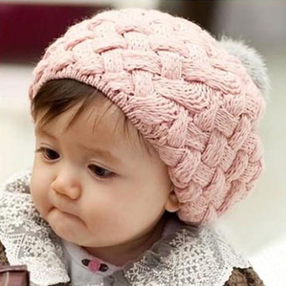 Lovely Kids Baby Crochet Knit Cap Knitting Winter Warm Beret Hat Cap  4 Colors HT lovely 4 colors kids baby crochet knit cap knitting winter warm beret hat cap bb75