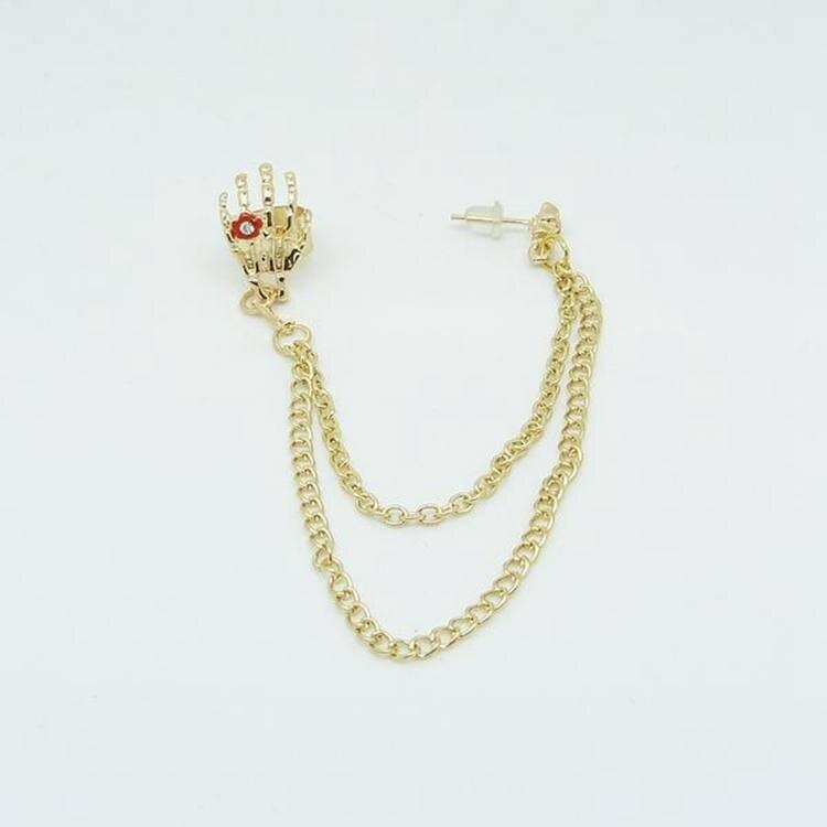 Jewelry & Accessories Nightclub Gothic Punk Skull Ear Cuff Earrings For Women Gold-color Skeleton Bone Hand Clip On Earrings Halloween Gift 1pc Elegant Shape Earrings