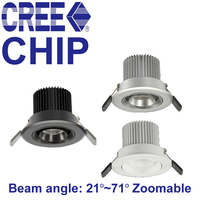 New Zoom Spot Led Downlight 110V 220V 5W 3000K 4000K 5000K Ceiling Led Lamp Cree Chip Led Spot Light Museum Cabinets Lighting