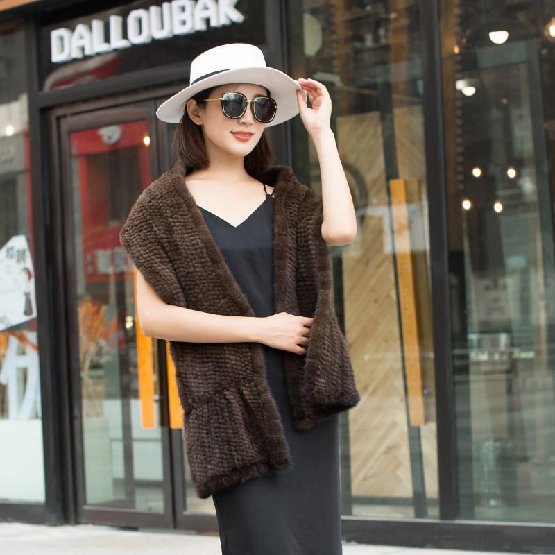 Mink Fur Scarf 2019 Fashion Import Double-sided Woven Bib Korean Winter Women's Mink Hair Thicken Shawl Long Warm