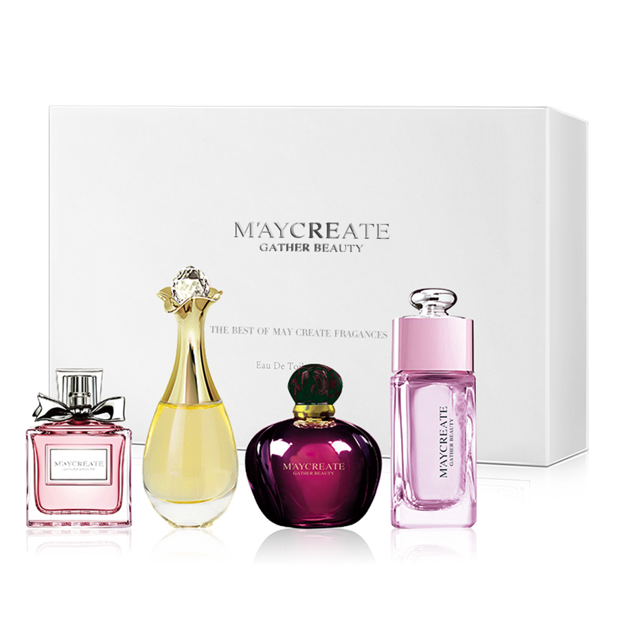 MayCreate 4Pcs Perfumed Women Female Parfums Atomizer Spay Bottle Glass Fashion Lady Flower Original Perfumed Brand Fragrances