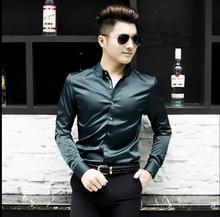 М-4XL Корейский Летом новый мужской гладких Материалов с длинными рукавами рубашки вышитые Постоянный пресс рубашку прилив певица костюмы одежда