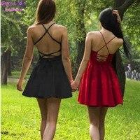 2015 NEW Women S Aa Sexy Beach Cross Spaghetti Strap Sling High Waist Dress Backless Off