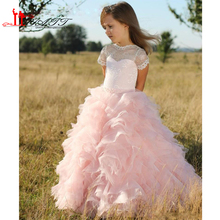 Pink Short Sleeves Flower Girls Dresses Children Sheer Neck Tiered Long Cute Girls Pageant Dress Organza Lace Birthday Kids