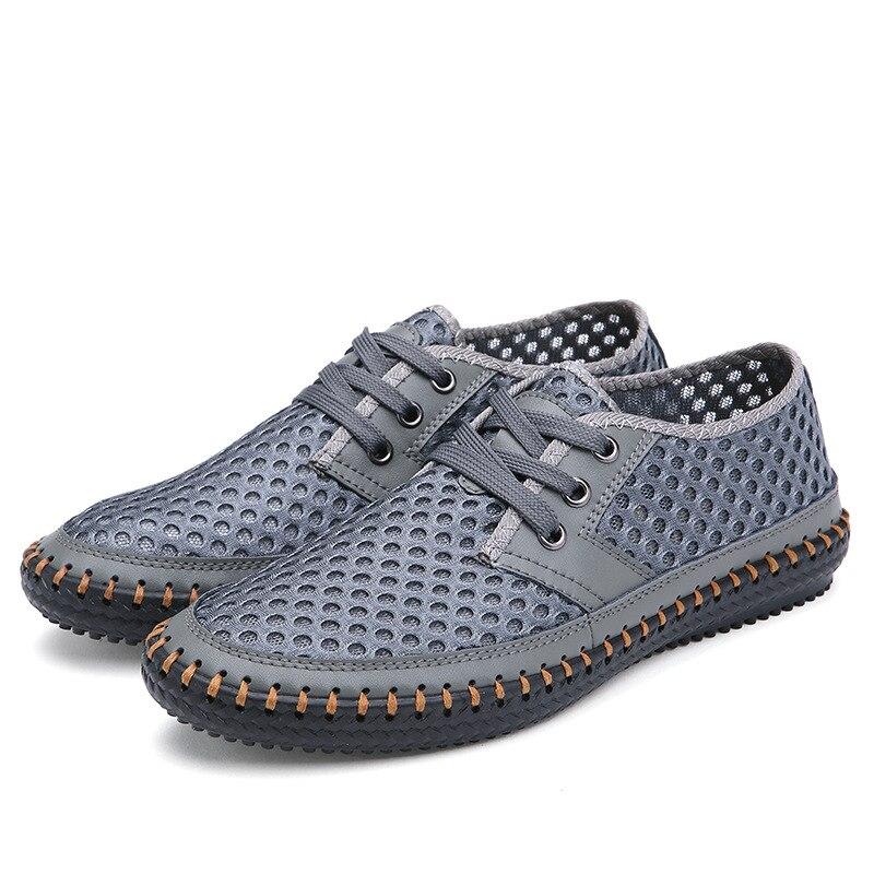 Mode en plein air chaussures pour hommes été respirant maille chaussures décontractées doux confortable à lacets hommes Fisheman chaussures confortable grande taille - 4