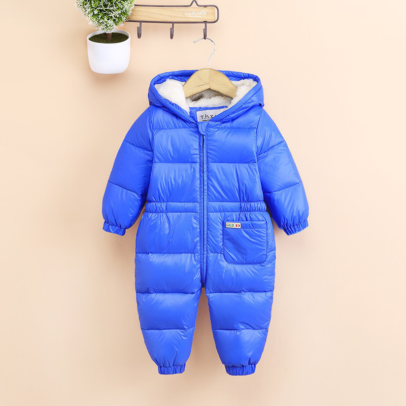 Thick warm Infant baby rompers Winter clothes Duck Down Newborn Baby Boy Girl Romper Jumpsuit Hooded  Kid Outerwear  For 0-18M 2016 newborn baby rompers hooded winter baby clothing bebethick cotton baby girl clothes baby boys outerwear jumpsuit infant