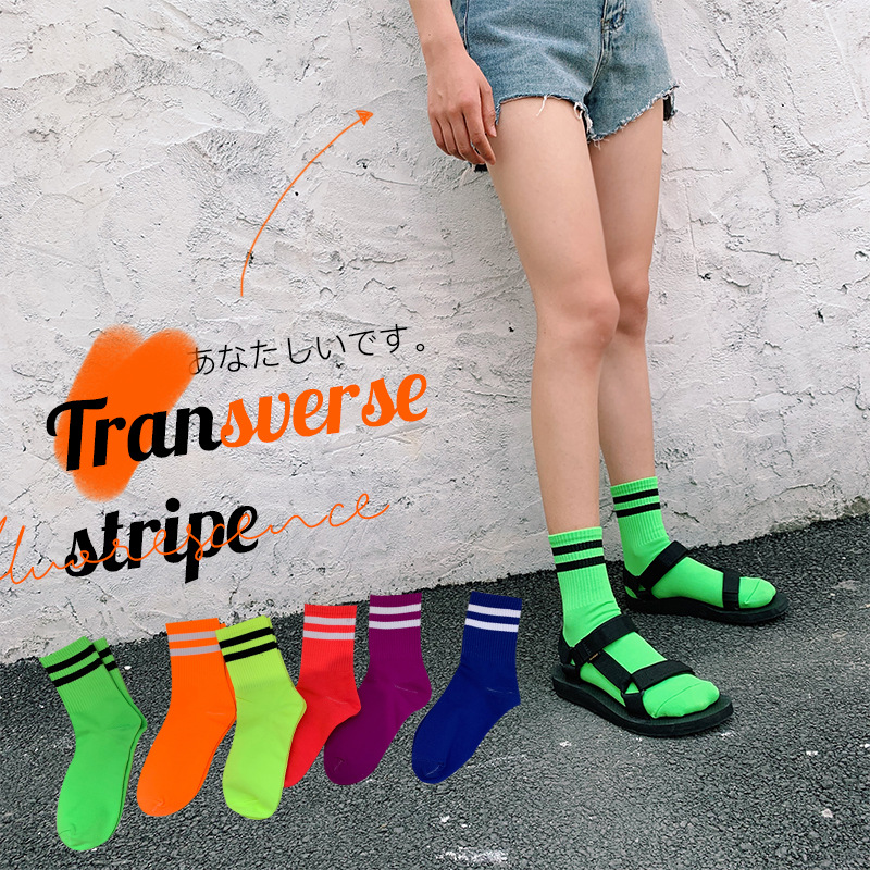 SP&CITY New Arrival Colored Women Fluorescence Solid Striped Cool Socks Ins Style Fashion Student Hip Hop Durable Sox