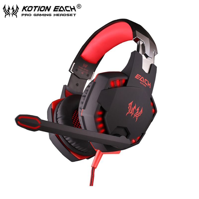 Computer Vibration Gaming Headphone Kotion EACH G2100 Stereo Bass casque Best Earphone Headset with Mic/LED for PC Game Gamer each g1100 shake e sports gaming mic led light headset headphone casque with 7 1 heavy bass surround sound for pc gamer