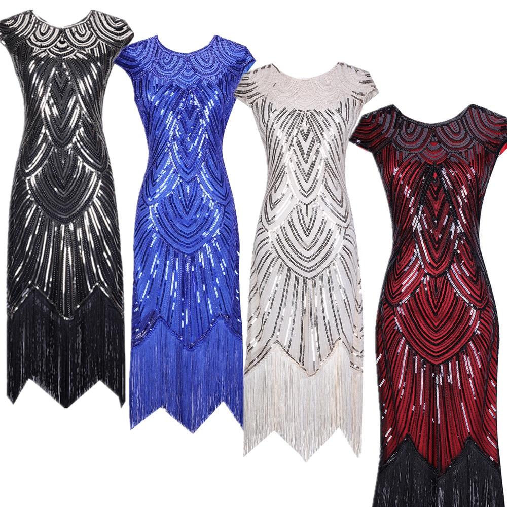 Large Size Summer Women's Dress Tassel Hand-woven Sequin Dress 1920S Retro European and American Movie Dress