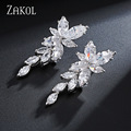 ZAKOL 2 Cor Design Elegante Forma Marquise Cluster Flor Zirconia Simulado Diamante Nupcial Longo Brincos Pendurados FSEP167