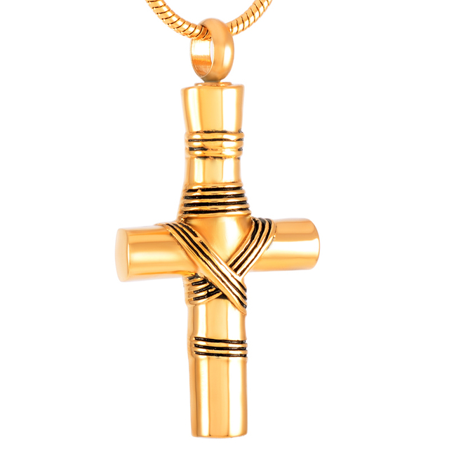 Ribbon Cross Urn Necklace