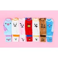 Korean BTS Kawaii BT21 Women Pajamas Sets KPop Bangtan Boys Harajuku Fashion For Girls Clothes Suits Close fitting Flannel Men