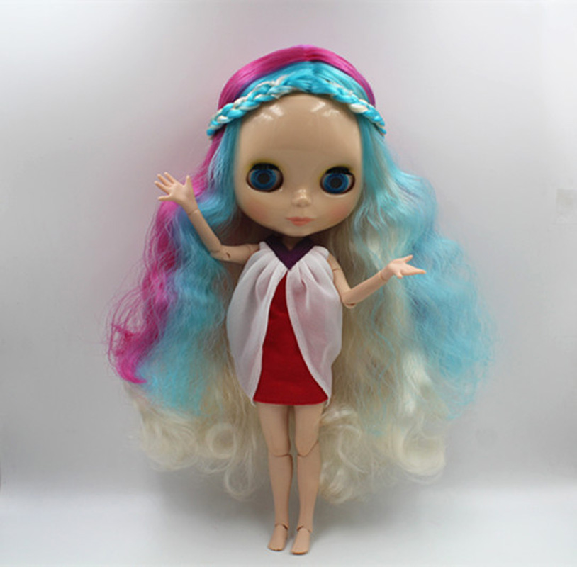Free Shipping BJD joint RBL-357J DIY Nude Blyth doll birthday gift for girl 4 colour big eyes dolls with beautiful Hair cute toy free shipping bjd joint rbl 415j diy nude blyth doll birthday gift for girl 4 colour big eyes dolls with beautiful hair cute toy