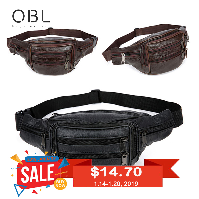QiBoLu tehén valódi bőr derékcsomagok Fanny Pack Bum övtáska férfiak táska Pochetes Bolso Cintura Marsupio Uomo Banane Sac MBA59