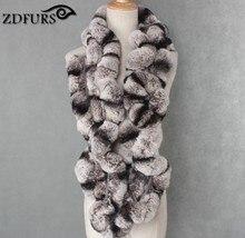 ZDFURS * Winter womens Real rex Rabbit Fur stole Wrap Muffler loop infinite rex rabbit fur scarf shawl neckerchief ZDS-162002