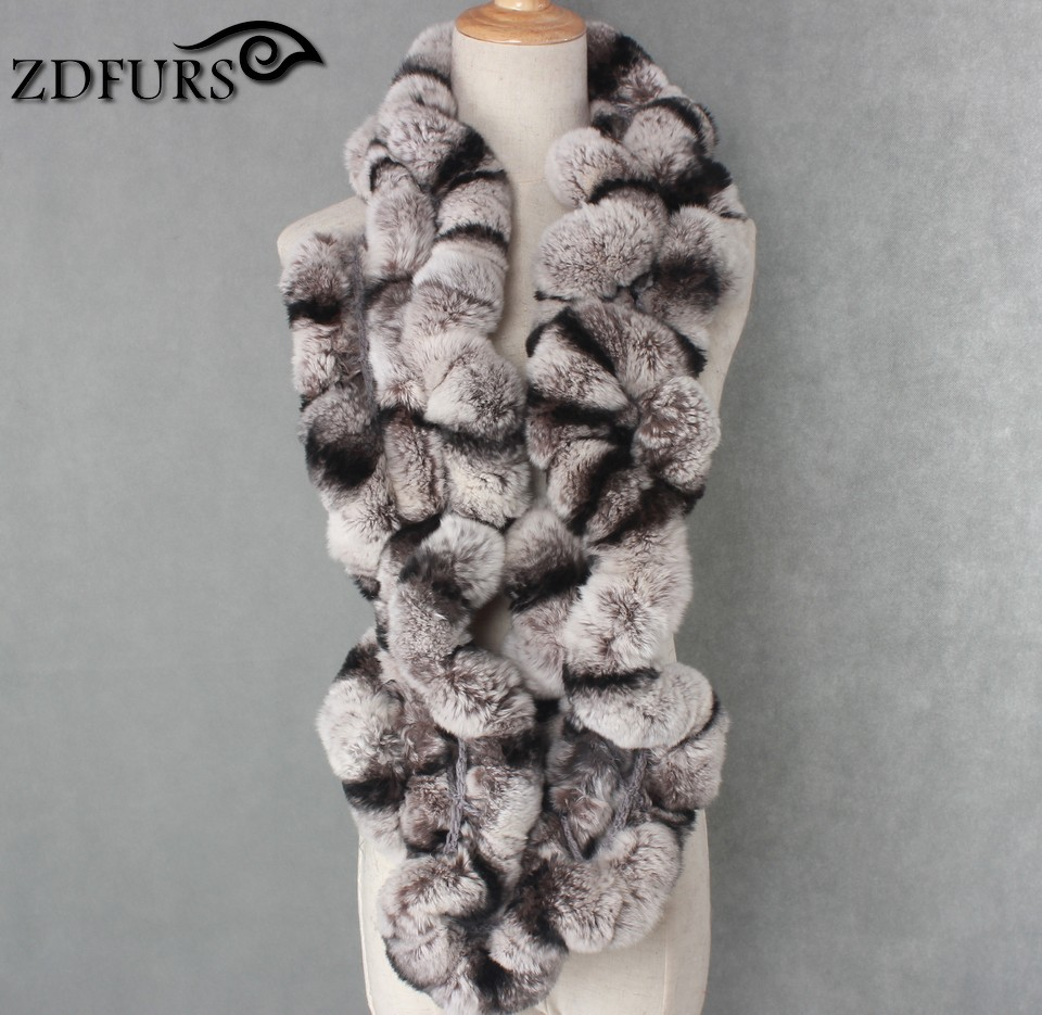 ZDFURS * Winter womens Real rex Rabbit Fur stole Wrap Muffler loop infinite rex rabbit fur scarf shawl neckerchief ZDS 162002