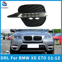 For BMW X5 E70 2011 2012 LED Daytime Running Light DRL Super Brightness Waterproof Fog Cover DC 12V External Lights car-styling