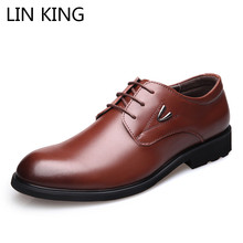 LIN KING Square Heel Classic Men Dress Shoes Genuine Leather Man Italian Formal Oxford Shoes Plus Size 38-46 For Spring Autumn