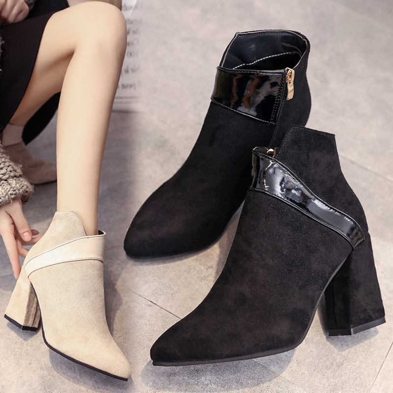 High heels shoes women autumn winter sexy pointed toe ankle boots ladies retro chunky heels short boots botas mujer beige black 46