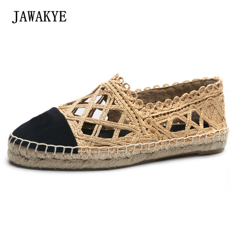 2018 Straw Weave Fisherman Shoes Woman Round Toe Patchwork Hollow Thick Bottom Lazy Casual Shoes Femme genshuo women flats shoes casual round toe loafers fisherman espadrilles lazy hemp rope weave shoes woman black pink black pink