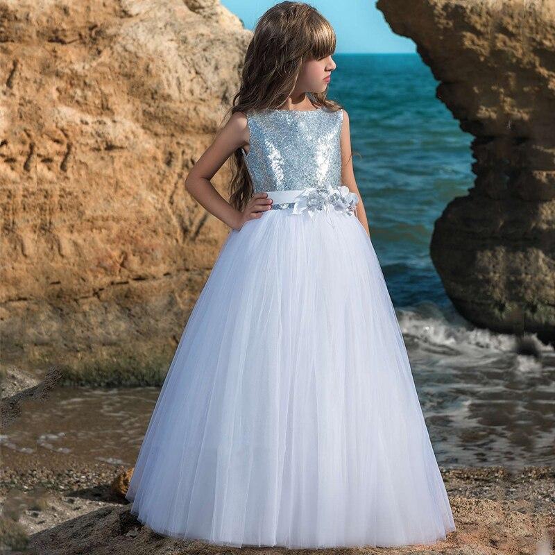 Nouveautés fleur filles robes de mariée perles Tulle sans manches robes de bal avec nœud ceinture première Communion robe de princesse